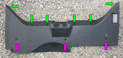 The rear panel is connected to the body with six rectangular plastic clips (green arrows) and three plastic spreading rivets (purple arrows).