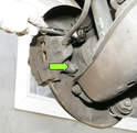 A special tool or sometimes a plastic or wooden handle can be used to push back the piston with the caliper still mounted.