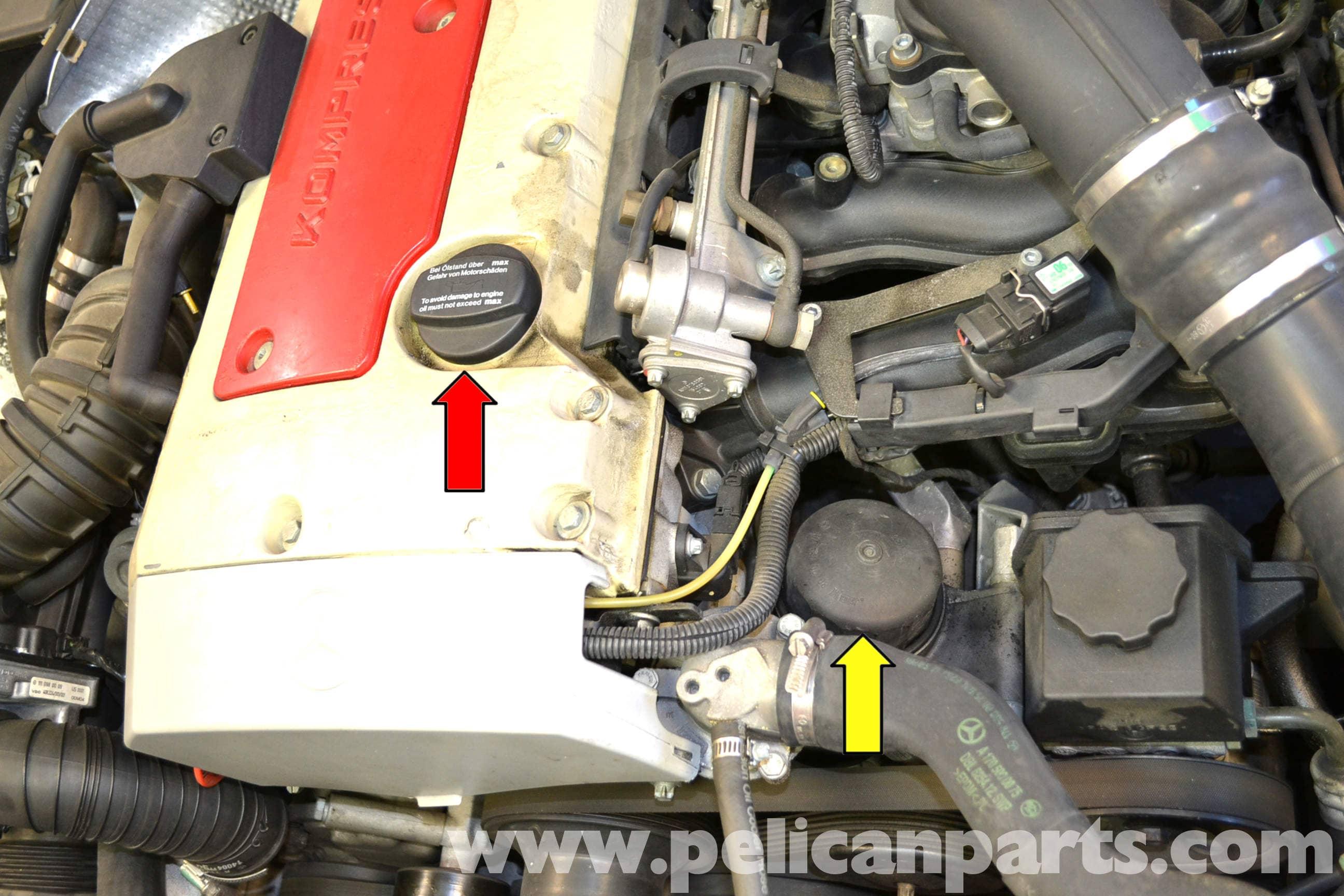 Oil Filter Housing Gasket >> Mercedes-Benz SLK 230 Oil Change | 1998-2004 | Pelican Parts DIY Maintenance Article