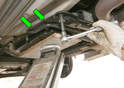 Once the car is raised and secured with jackstands, the transmission's weight must be supported.