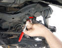 The tie rod/track rod uses an eccentric bolt to set the toe-in.