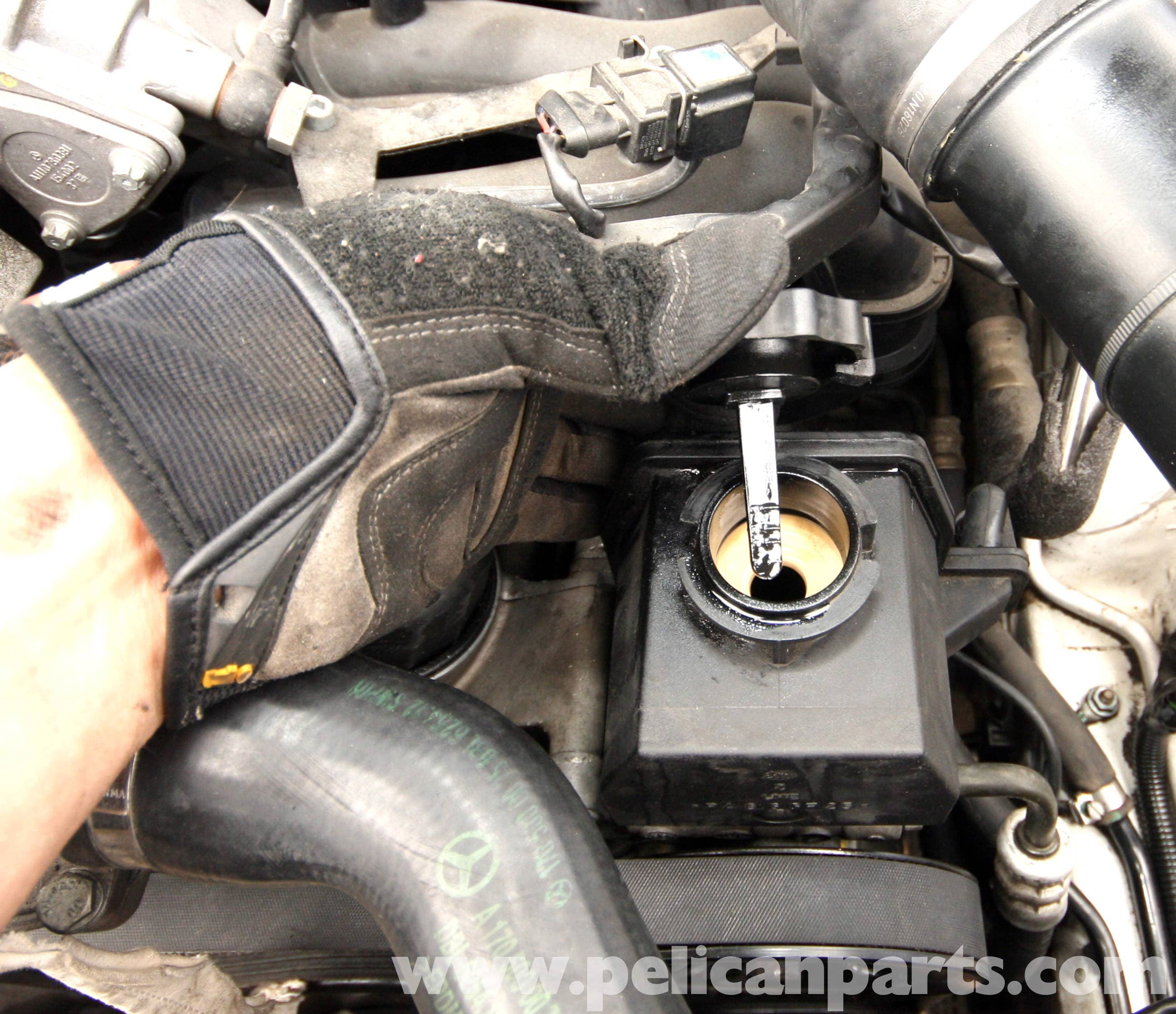 Check Power Steering Fluid >> Mercedes-Benz SLK 230 Power Steering Pump Removal | 1998 ...