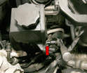 A ground wire runs from the back of the steering pump to the car's fender.