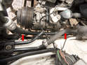 Inspect other power steering hoses (arrows) for signs of leaks or deterioration and replace as necessary.