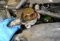 With the bolts removed pull the thermostat and cover off.