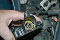Make sure you do not lose or forget to reinstall the washer between the circlip and bushing.