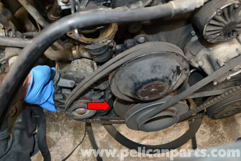 mercedes benz w123 alternator replacement 300td 1977 1985push the alternator towards the motor and slip the belts off