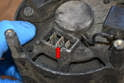 Also make sure to clean up the alternator connectors with some Emery cloth and apply a little di-electric grease to them (red arrow).