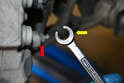 Make sure you use the proper tool for the job and that tool is a flared nut wrench (yellow arrow).
