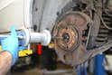 The wheel hub is pressed into the rear bearing and can be a pain to remove.