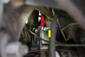 This photograph taken from the bottom of the motor illustrates the sender (red arrow, behind the Allen socket).