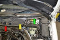 Wiper Assembly-You will need to remove the center piece by the firewall (red arrow) as well as remove the two cowl pieces (yellow and green arrows) on both sides of the wiper.