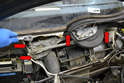 Wiper Assembly- Use a 10mm socket and remove the four bolts (red arrows) holding the motor, mount and mono-post to the frame.