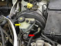 The heart of the brake system is the master cylinder (red arrow), which controls the hydraulic pressure of the entire system.