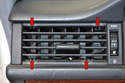 Side Vents: The side vents are held in place by four small clips that need to be pulled and held in the down position while removing the vent (red arrows).