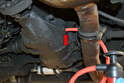 Due to the location of the fill hole you will need to use a fluid pump to get the fluid into the differential (red arrow).