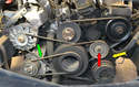 With the air pump belt (green arrow) removed you can use an 8mm Allen to loosen the tensioner (red arrow) and then replace the A/C belt (yellow arrow).