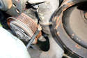 This photo illustrates the other end of the lower radiator hose at the coolant pipe.