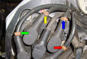 Here is a close up view of the distributor cap wiring.