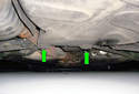 If you need to jack up the entire rear axle you can jack it up from the jack pads (green arrows) mounted at the bottom of the rear sub-frame.