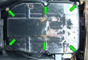 Here are the locations of the six fasteners (green arrows) that mount the oil pan to the transmission.