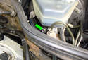 Remove the lower brake master cylinder 13mm fastener (green arrow) if you have a long extension and swivel.