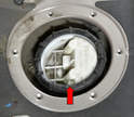 With the access panel off you can see the locating cover and ring seal on the pump.