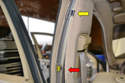 The upper section of B pillar trim is held on with four clips as well.