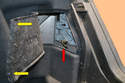 With the trunk open you will find access panel on each side of the rear of the trunk behind the tail light assemblies.