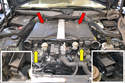 The top engine cover can be pulled straight up and off.