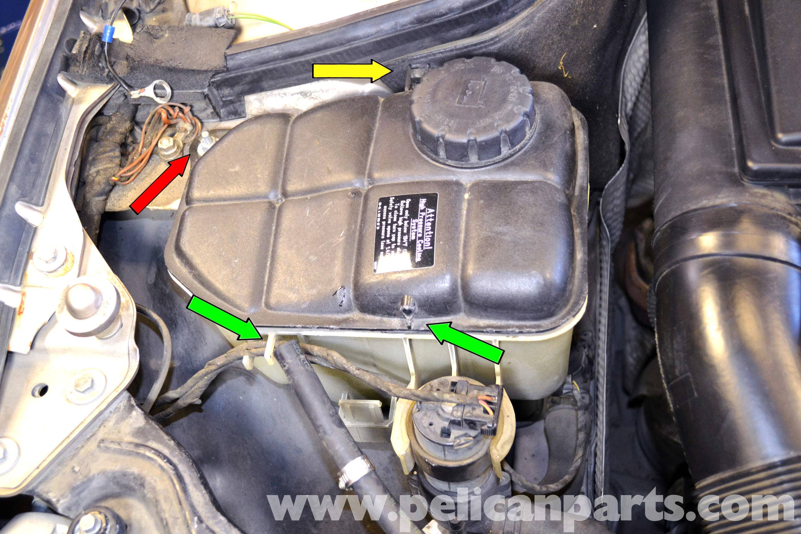 WATER Coolant Expansion Tank Replacement on 2000 mercedes clk320 coupe