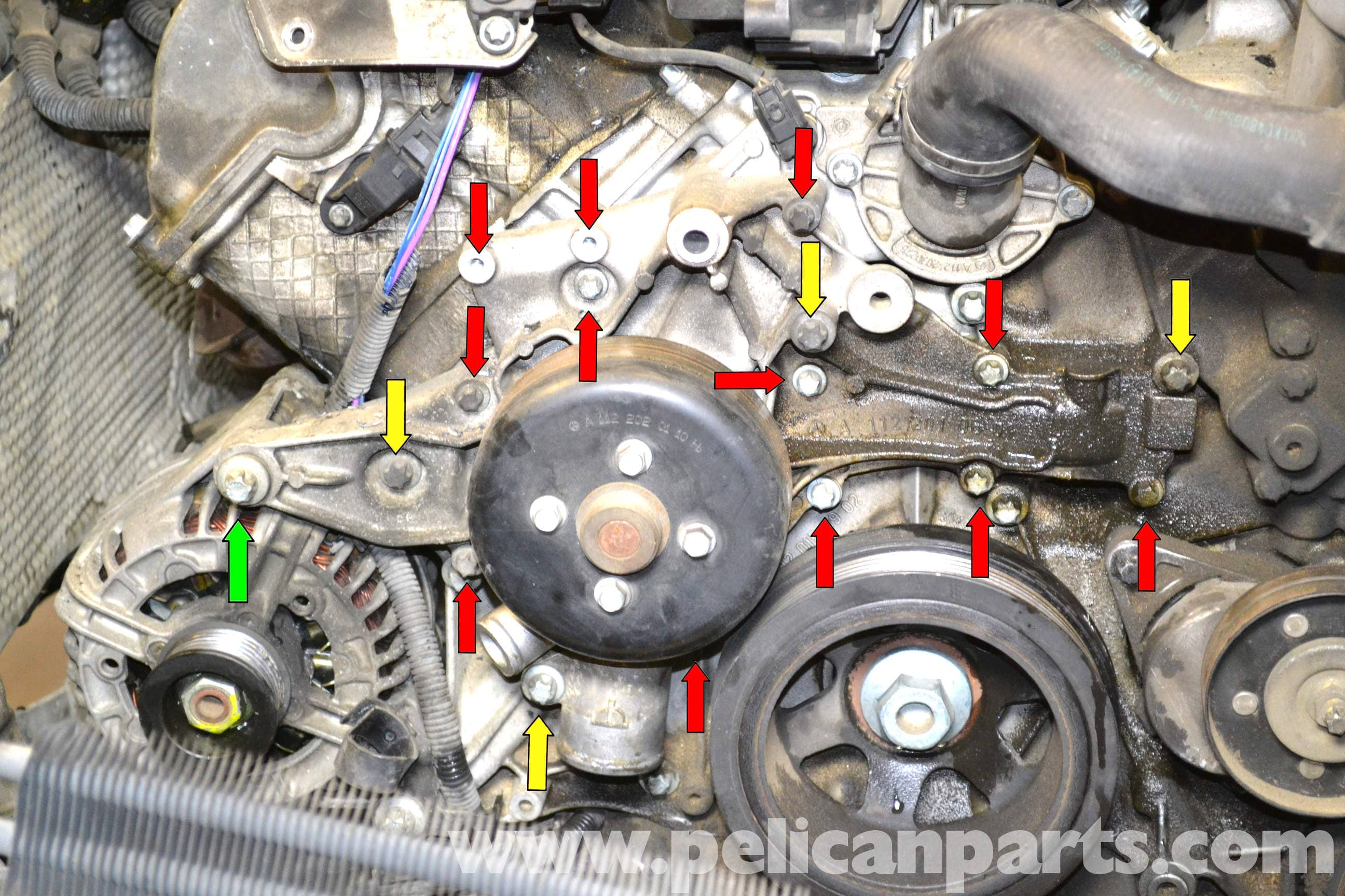 Mercedes Benz W203 Engine Diagram Great Installation Of Wiring C Cl W202 C240 Fuse Box Water Pump Replacement 2001 2007 C230 C280 Rh Pelicanparts Com