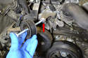 The bolt (red arrow) is extra long so make sure to label it as it is not easy to replace if you loose it.