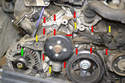 There are one E14 (green arrow), four E12 (yellow arrows) and twelve E10 bolts (red arrows) connecting the coolant pump to the engine and most of them are different lengths.
