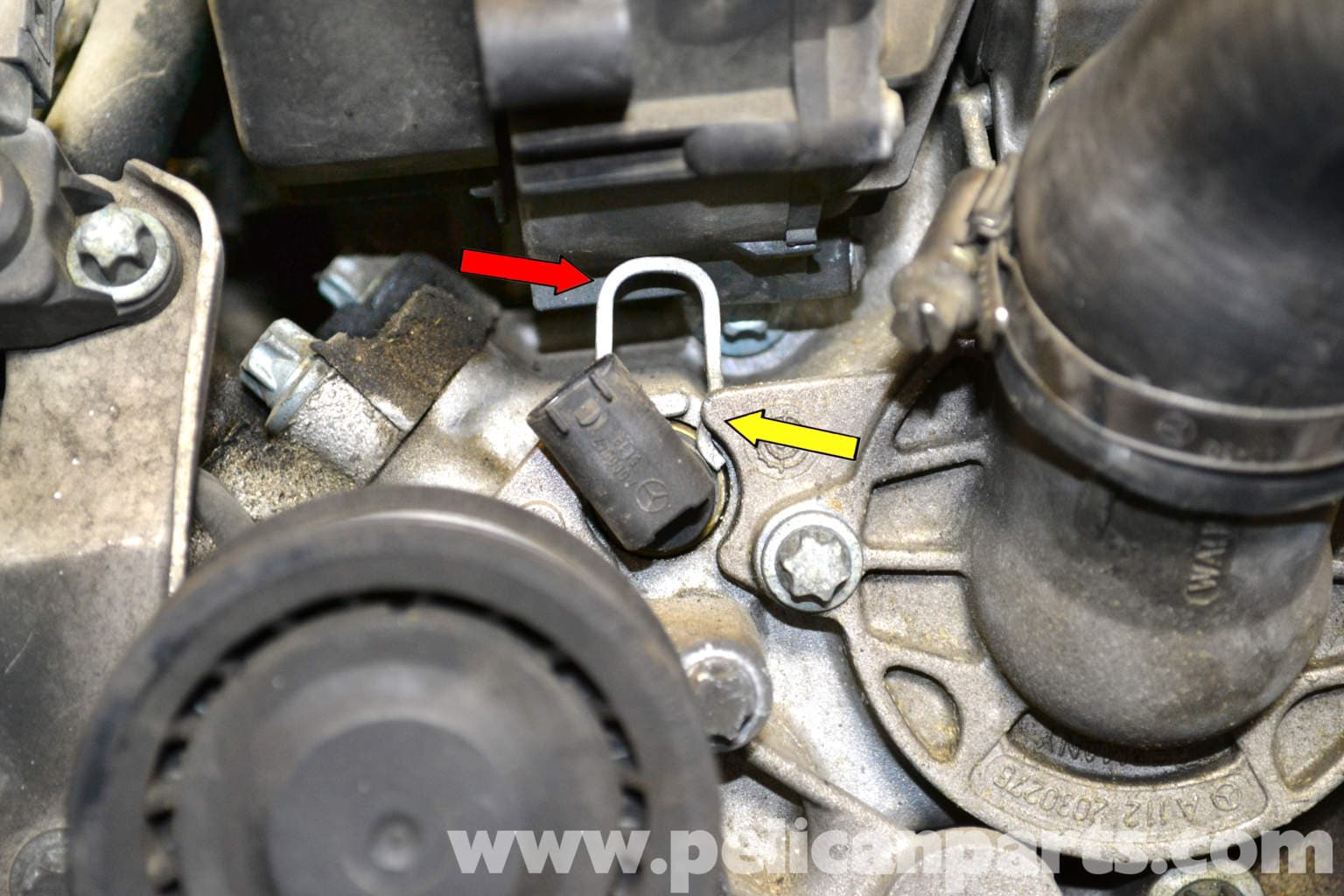 Mercedes Benz W203 Coolant Temperature Sensor Replacement