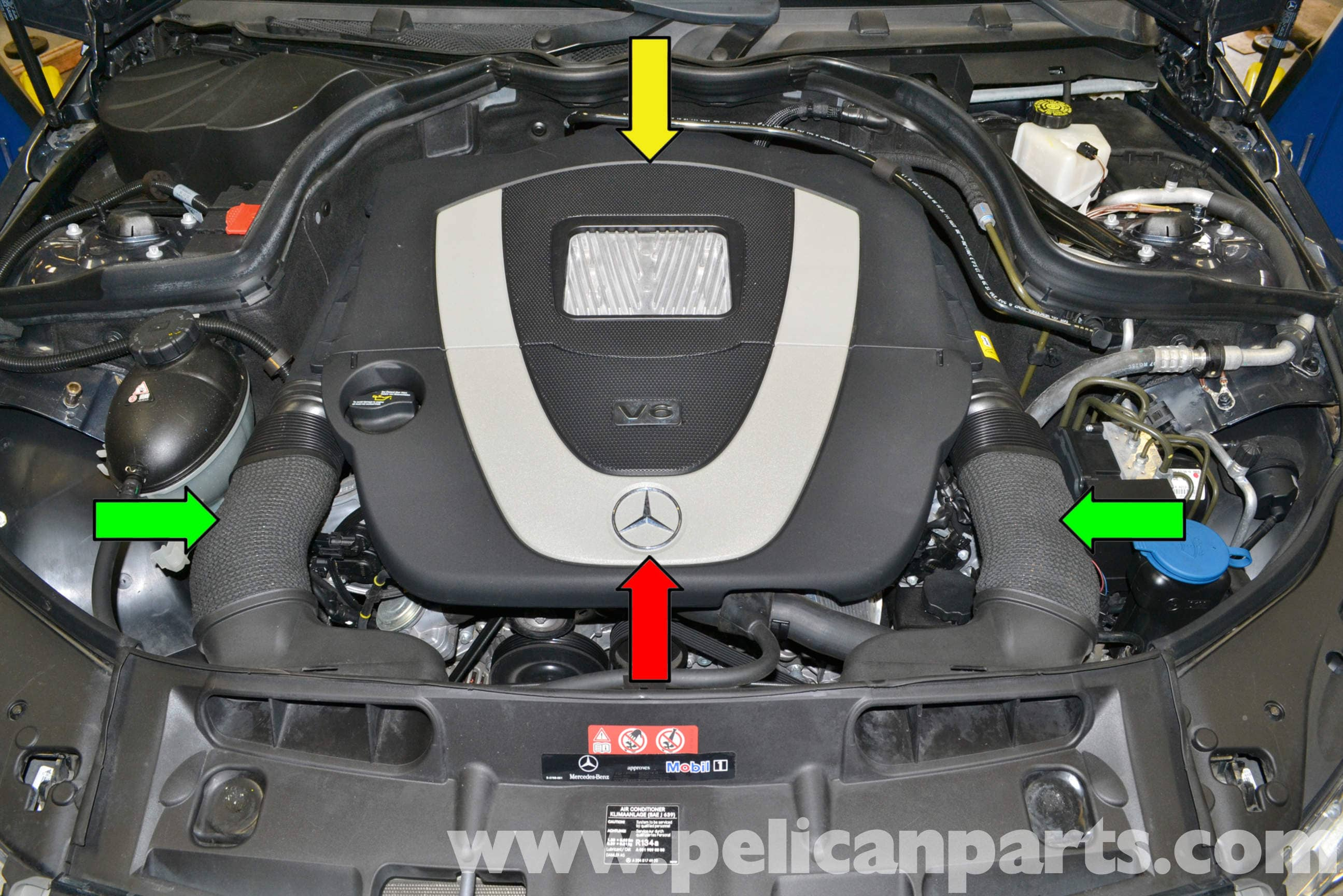 pic01 mercedes benz w204 engine cover removal (2008 2014) c250, c300  at crackthecode.co