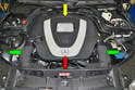 With the hood open you can see the two engine covers: the front one (red arrow) that comes off for just about any job, and the rear one (yellow arrow) which also contains the air filters.