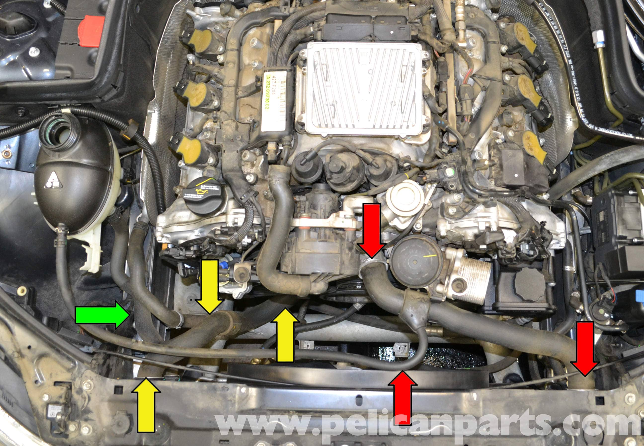 Mercedes benz w204 coolant hose replacement 2008 2014 for Mercedes benz coolant
