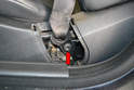 Front Seats- Use a T45 Torx and remove the lower mounting point of the belt from the seat (red arrow).
