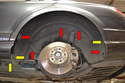 Begin by removing all of the fasteners for the rear wheel well liner and remove the liner; please see our article on wheel well liner removal for additional assistance.
