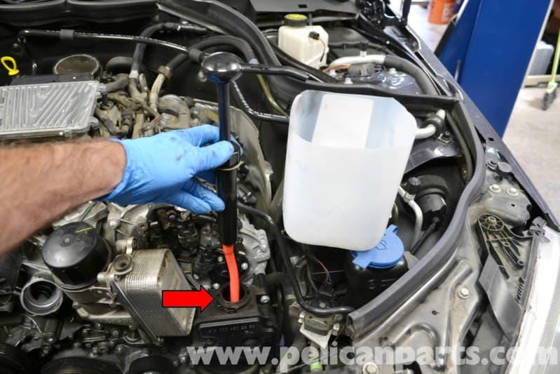 How Much Is A Power Steering Pump >> Mercedes-Benz W204 Power Steering Reservoir Replacement - (2008-2014) C250, C300, C350 | Pelican ...