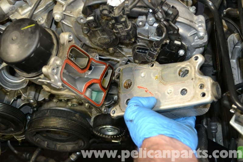 20 ENGINE Oil Cooler and Seal Replacement on mercedes benz e350 parts