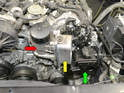 The oil filter housing (red arrow) has the oil cooler attached to it (yellow arrow) and runs both the oil and coolant through the housing to get to the cooler.
