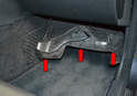The blower motor resistor is located in the passenger side footwell.