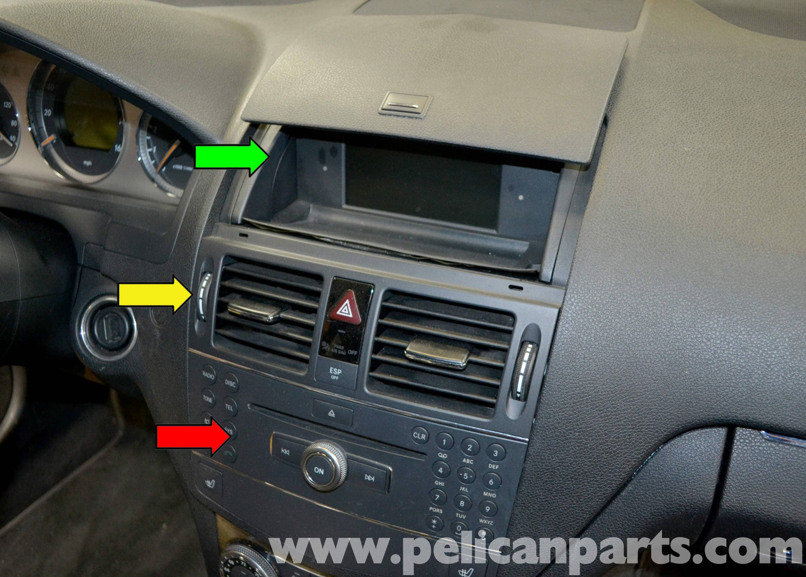 pic01 mercedes benz w204 stereo removal (2008 2014) c250, c300, c350  at webbmarketing.co