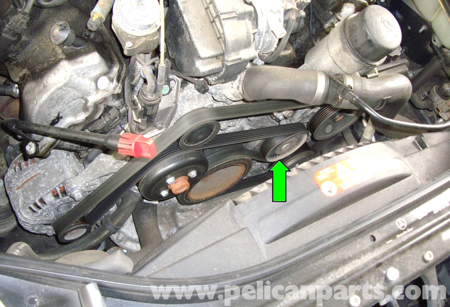 Mercedes benz w211 accessory drive belt replacement 2003 for Mercedes benz engine number check