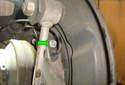Front Wheel Speed Sensor Follow the wiring harness of the wheel speed sensor to its electrical connector.