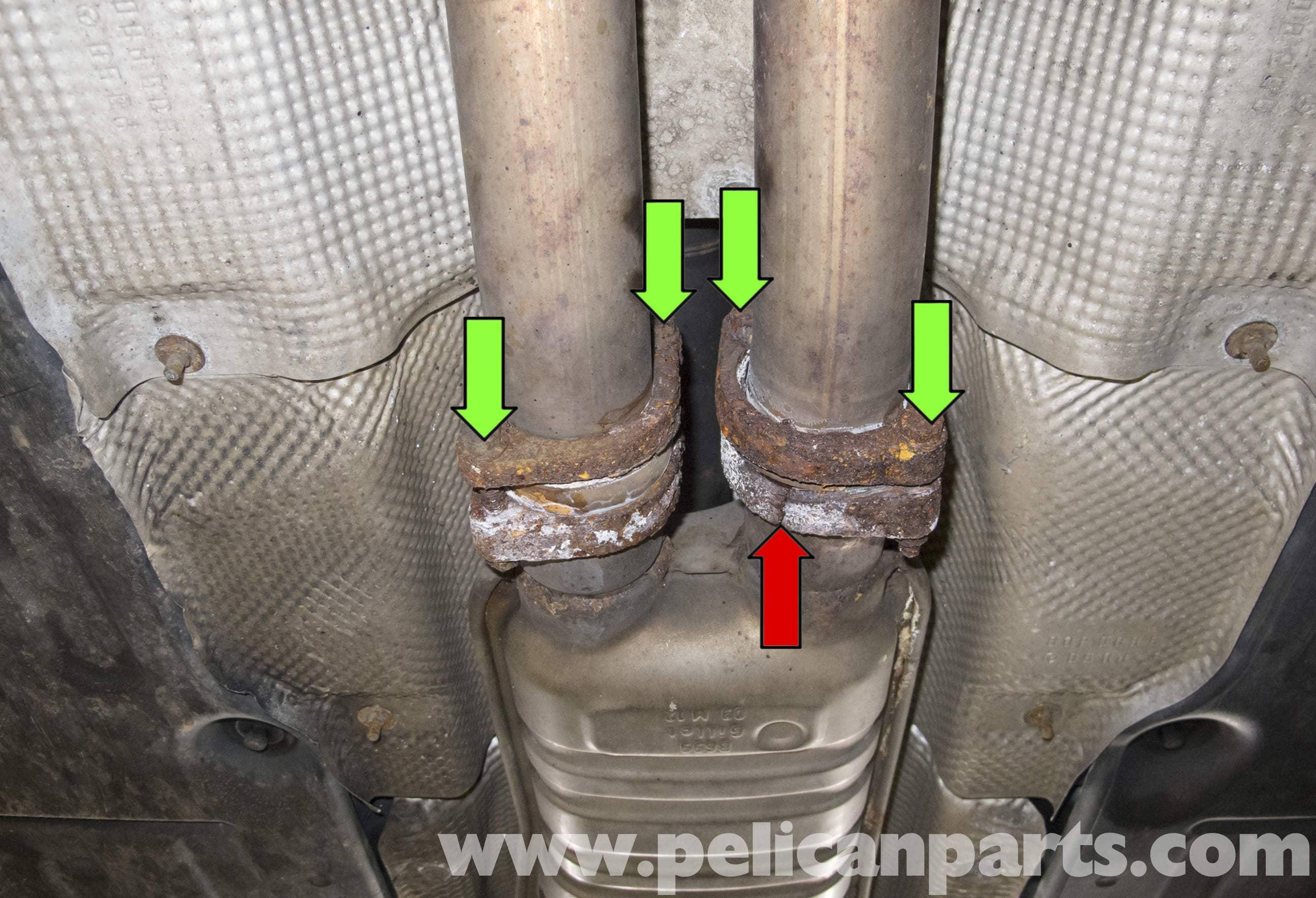 Oxygen Sensor Replacement >> Mercedes-Benz W211 Exhaust System Replacement (2003-2009) E320 | Pelican Parts DIY Maintenance ...