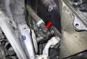 This photo shows the location of the heater control valve (red arrow).