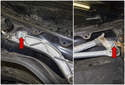 Working at the left and right side of the wiper transmission, remove the 13mm fasteners (red arrows).